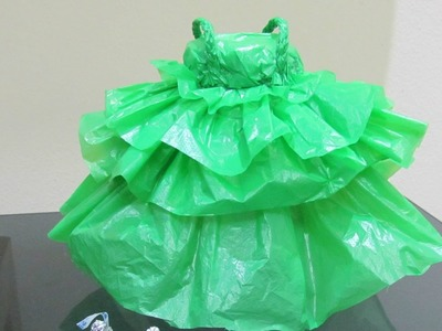 How to make doll dress with plastic bag