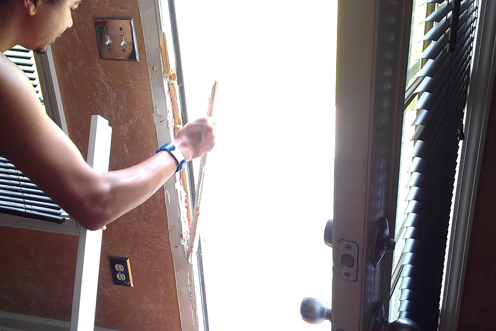 How to repair a broken door jamb.  Door kicked in Repair.  Door Jamb Armor install.