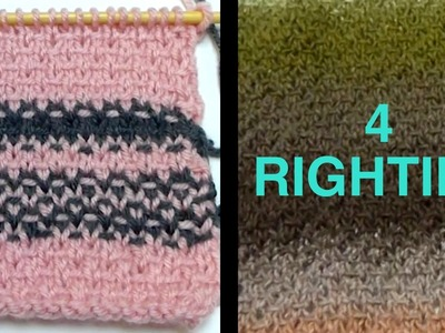 Watch How 2 Knit Woven Pattern 4 PONCHO - Part 1.2 (4 Righties)