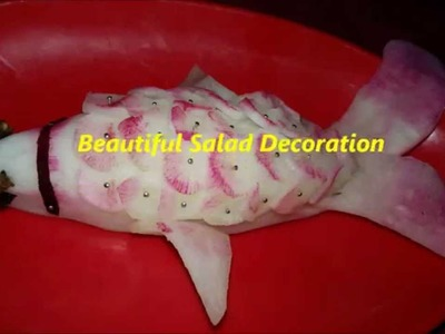 DIY Beautiful salad decoration-How to make beautiful fish from raddish for party decoration