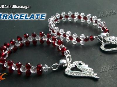 DIY  Crystal Beads Bracelet   Valentine's Day Gift Idea    How to make   JK Arts 834