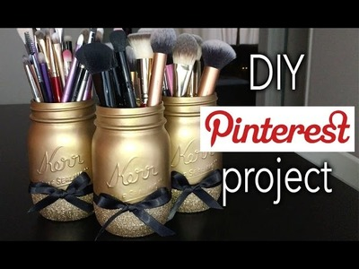 DIY Glitter Mason Jar Brush holders ll Easy Pinterest Project!