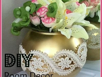 DIY Room Decor! Lace & Gold Vase