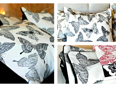 Stamping on fabric with Acrylic Paints  and Swallowtail  by Stampin Up ( DIY cushion covers PART 1)