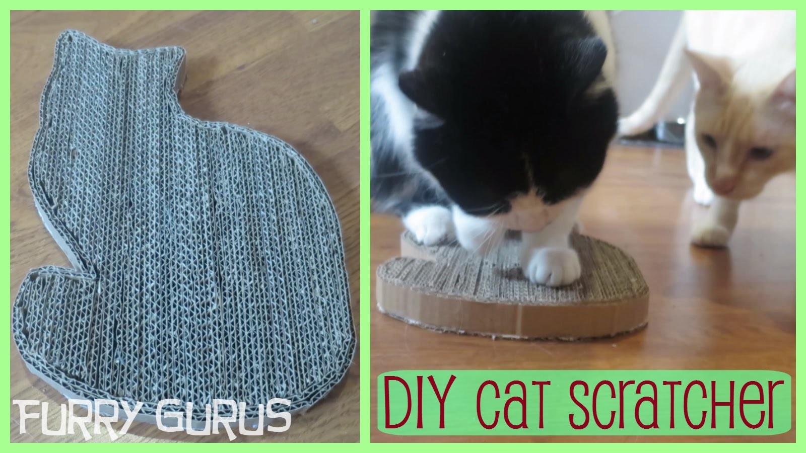 DIY Cardboard Cat-Shaped Cat Scratcher | Furry Gurus