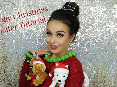 DIY CHRISTMAS SWEATER TUTORIAL & HAIR | Katherine Ballard