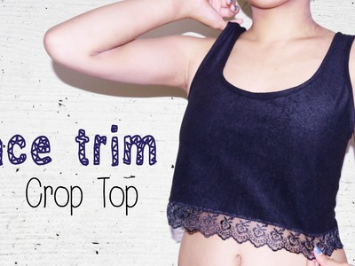 DIY ✂ Lace. Pompom Trim Crop Top