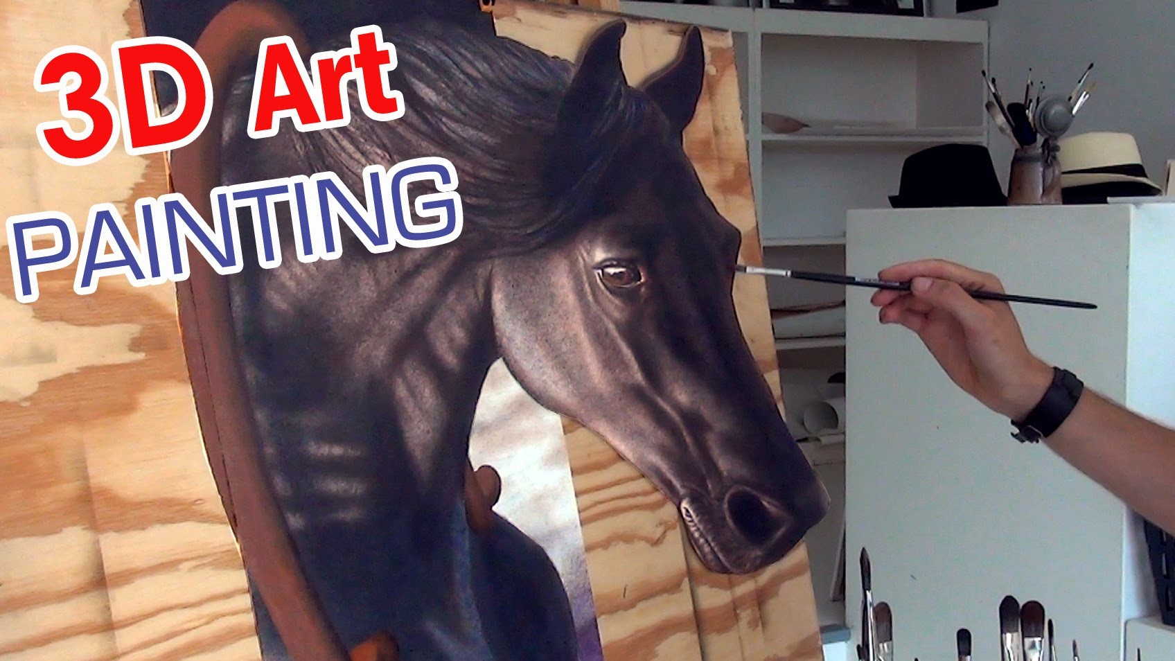 Drawing a HORSE in 3D. anamorphic speed painting