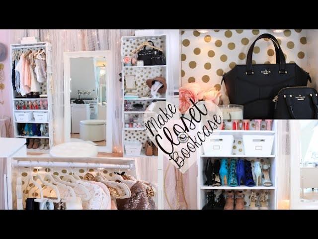 DIY Bookcase Closet & Sequin Hangers