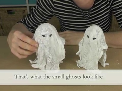 DIY: little spuky halloween ghosts with gauze and plaster of paris