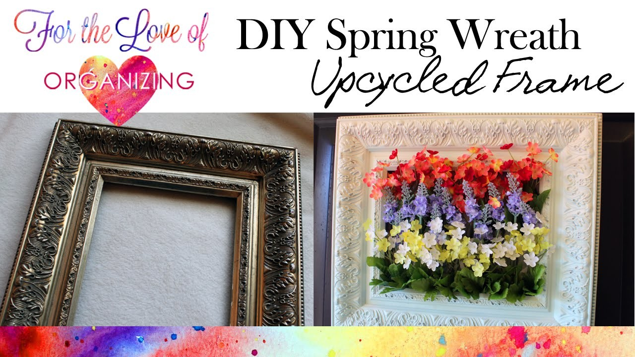 DIY Spring Wreath from Upcycled Picture Frame