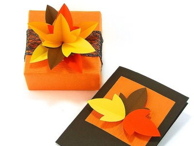 Fall Themed Gift Wrapping and a Handmade Card
