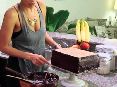 How to Ganache a Square Cake, without having to buy acrylics!