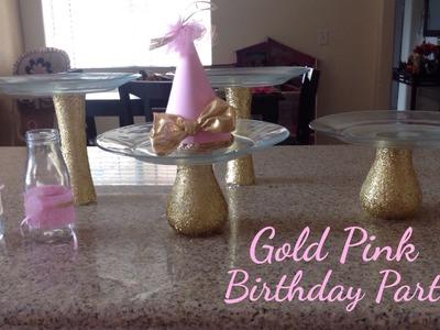 Birthday Bash: Pink & Gold DIY punch bar glasses decor. dessert cake table stands (under $10)