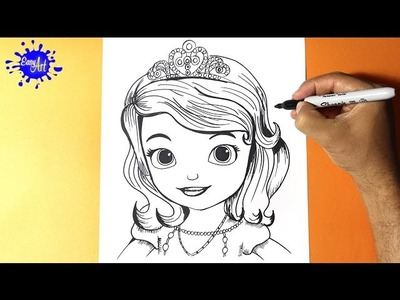 Como dibujar la princesita Sofia l How to draw the princess sofia - Como dibujar una princesa
