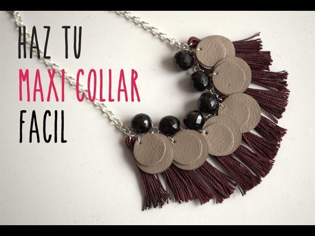 Cómo hacer un collar fácil en casa.How to make an easy maxi necklace at home (english subtitles)