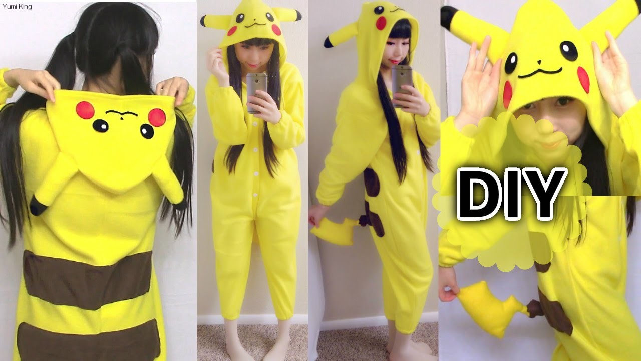 DIY Easy Onesie. Kigurumi. Costume Pikachu Onesie+ How to Make Pattern from Existing Clothes