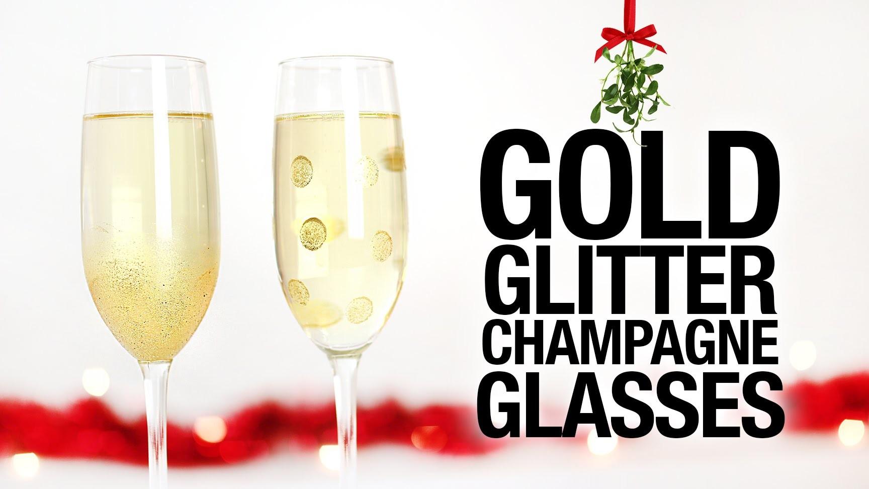 DIY Gold Glitter Champagne Glasses