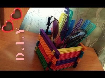 DIY Hair Brush & Glasses Holder. Popsicle Stick Craft Idea