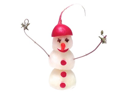 How to Make a Snowman with Radishes (HD)