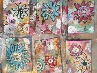 How to make easy doodle flower Artist Trading Cards.  Artist Trading Cards for Beginners
