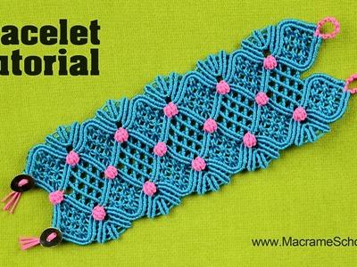 Macramé Glamour - Cuff Bracelet Tutorial by Macrame School
