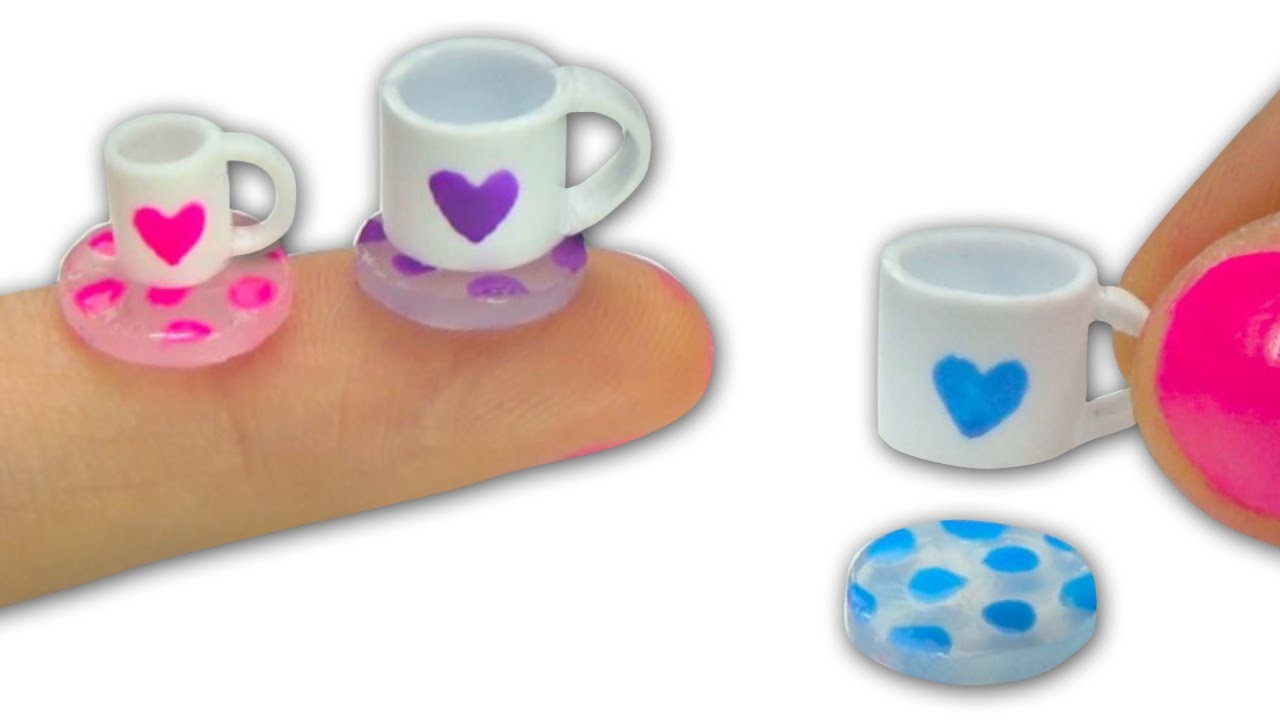 Miniature doll tea cups or mugs (really can be filled) and glass coasters tutorial - Dollhouse DIY