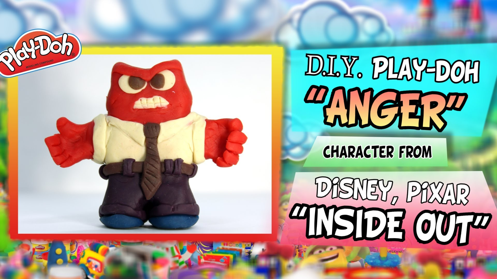 "Play-Doh ""ANGER"" from Disney Pixar ""INSIDE OUT"", DIY figure handmade with modeling clay"