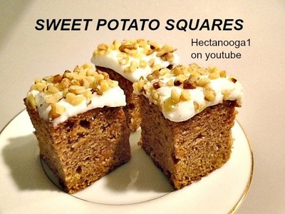 SWEET POTATO SQUARES, vegan, vegetarian, dessert, cake, recipe