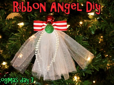 Vlogmas 2014 Day 3 DIY Ribbon Angel hair clip.Ribbon Angel ornament