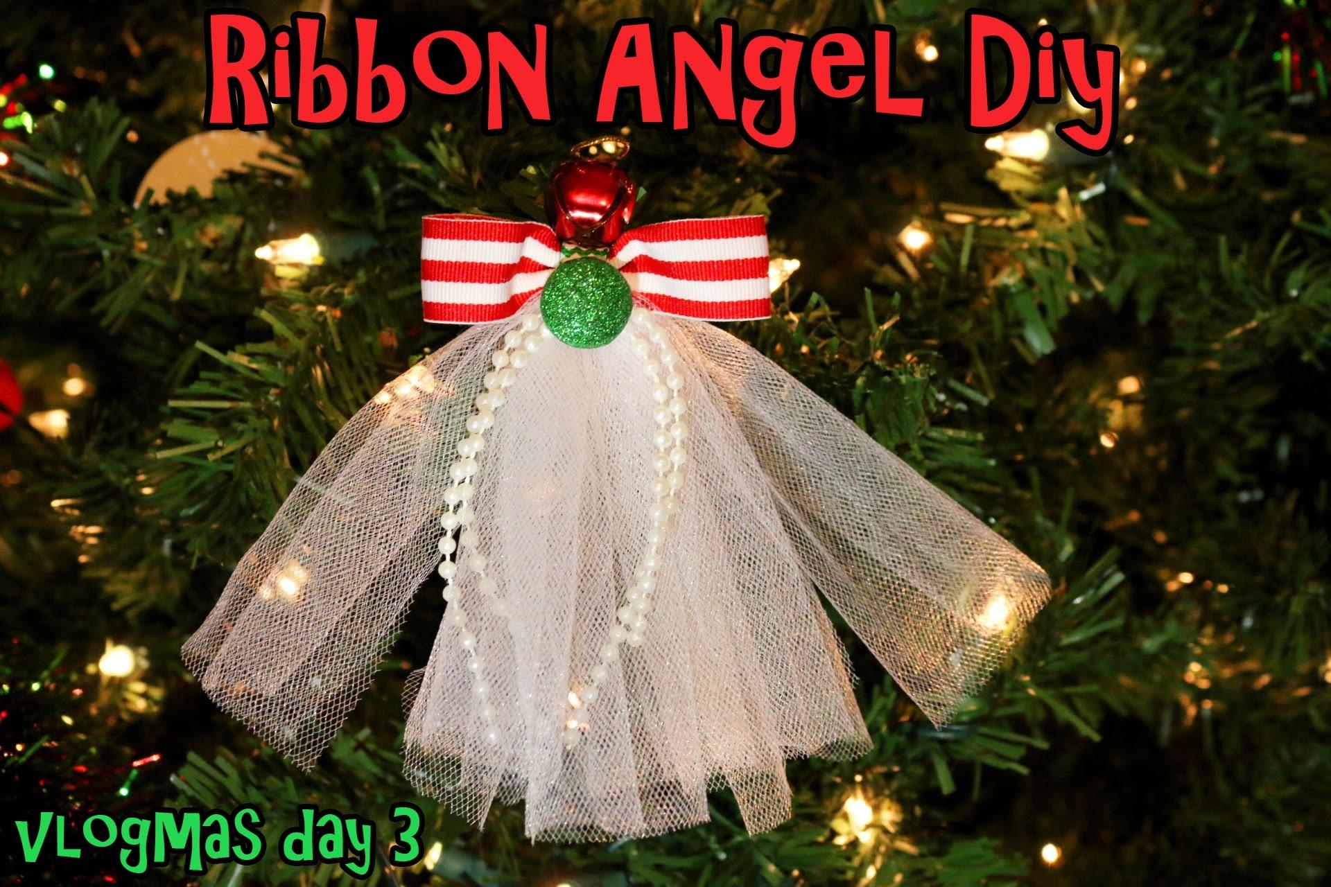Vlogmas 2014 Day 3 DIY Ribbon Angel hair clip.Ribbon Angel ornament