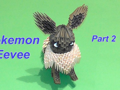 3D origami Pokemon Eevee tutorial part 2