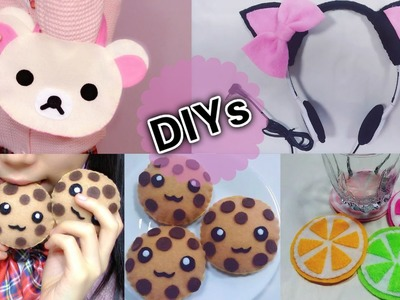 4 Cute DIYs: DIY Rilakkuma Handbag+Cat Headphone+Lemon Cup Coaster+Chocolate Cookie Toy