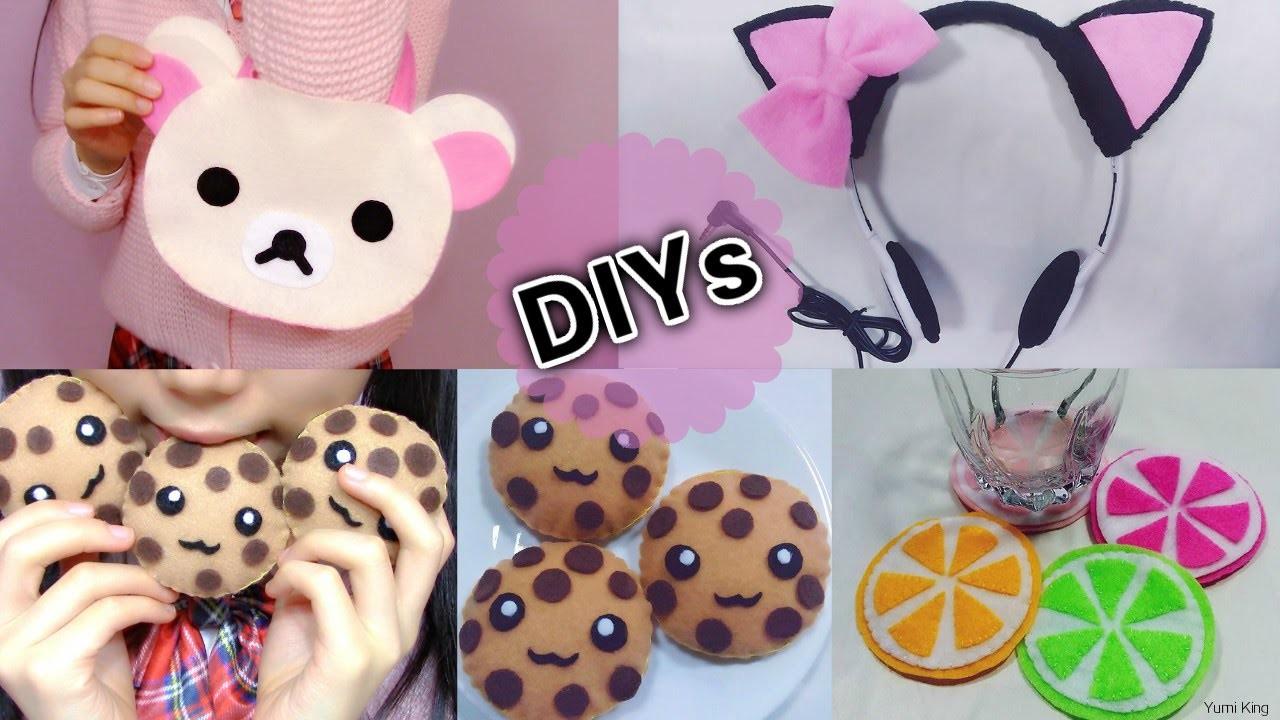 4 Cute DIYs: DIY Rilakkuma Handbag+Cat Headphone+Lemon Cup Coaster+Chocolate Cookie Toy