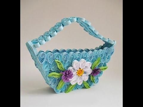 DIY Delicate Quilling Basket Handmade Crafts Ideas !