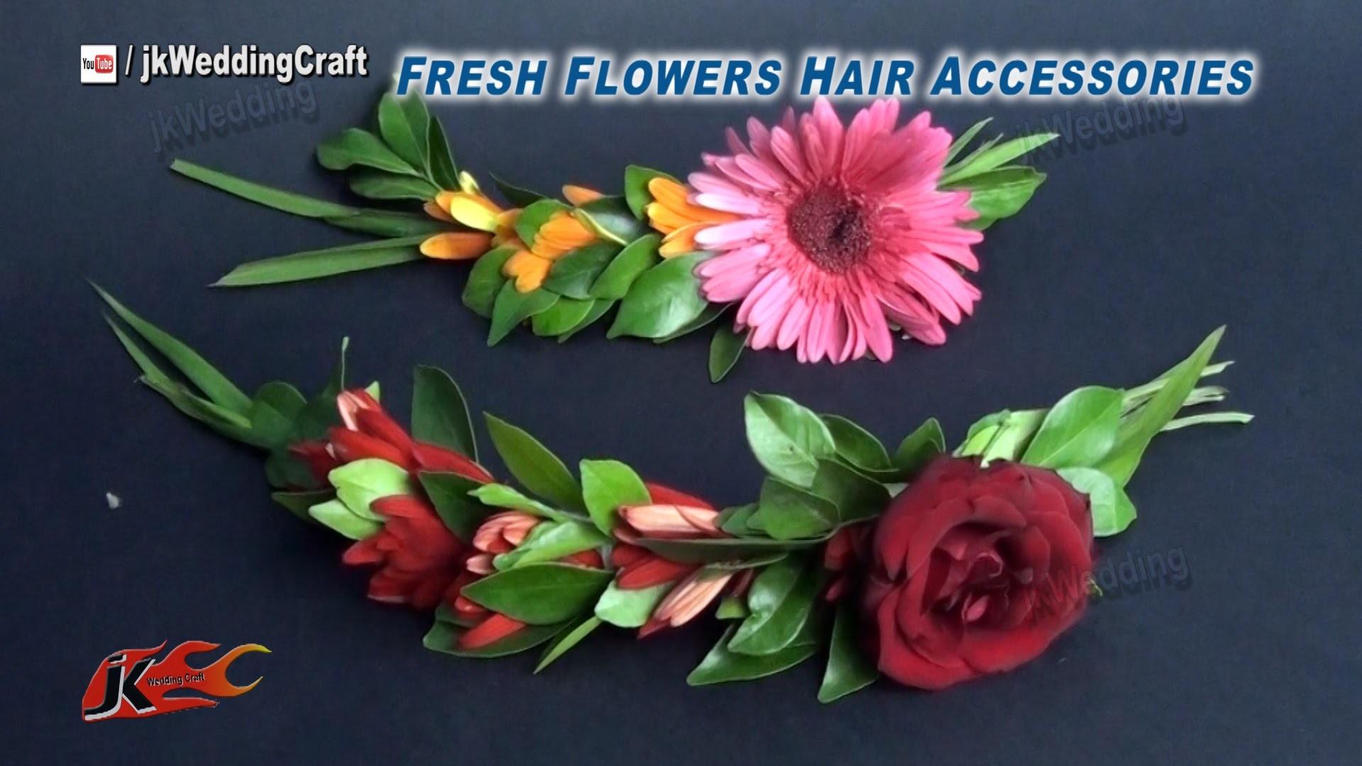 DIY Fresh Flower Wedding Hair Piece | How to make | JK Wedding Craft 033