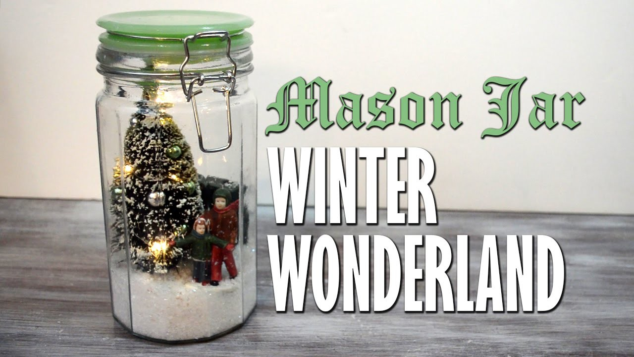 DIY Mason Jar Winter Wonderland Snowglobe Scene | homemade Christmas decorations & holiday crafts