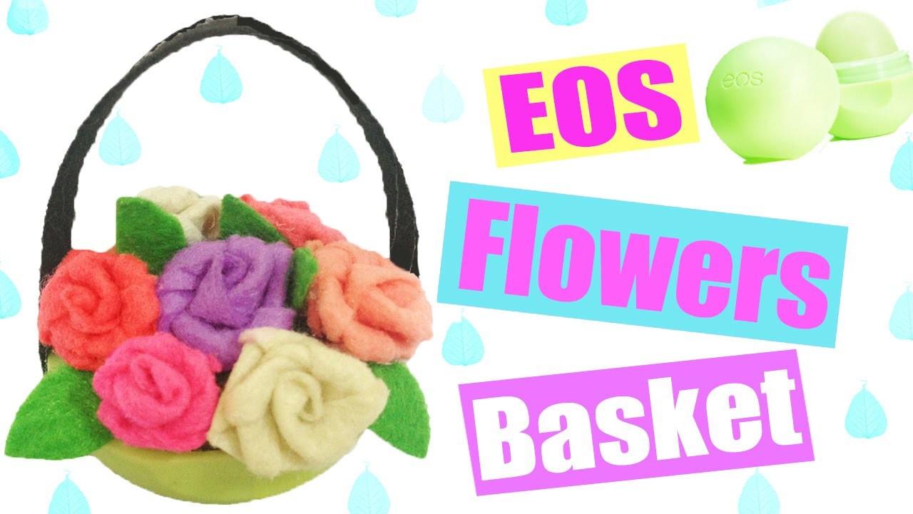 DIY Miniature Flower Basket from EOS Lip Balm - Dollhouse DIY