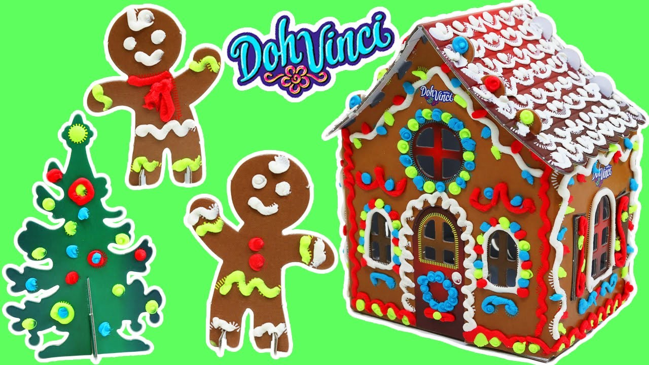Doh Vinci Holiday Gingerbread House, Christmas Tree, & Gingerbread Man DIY Decorations!
