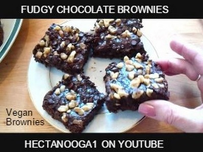FUDGY chocolate BROWNIES recipe, ONE bowl, Vegan, Quick and Easy, 2 point WW,