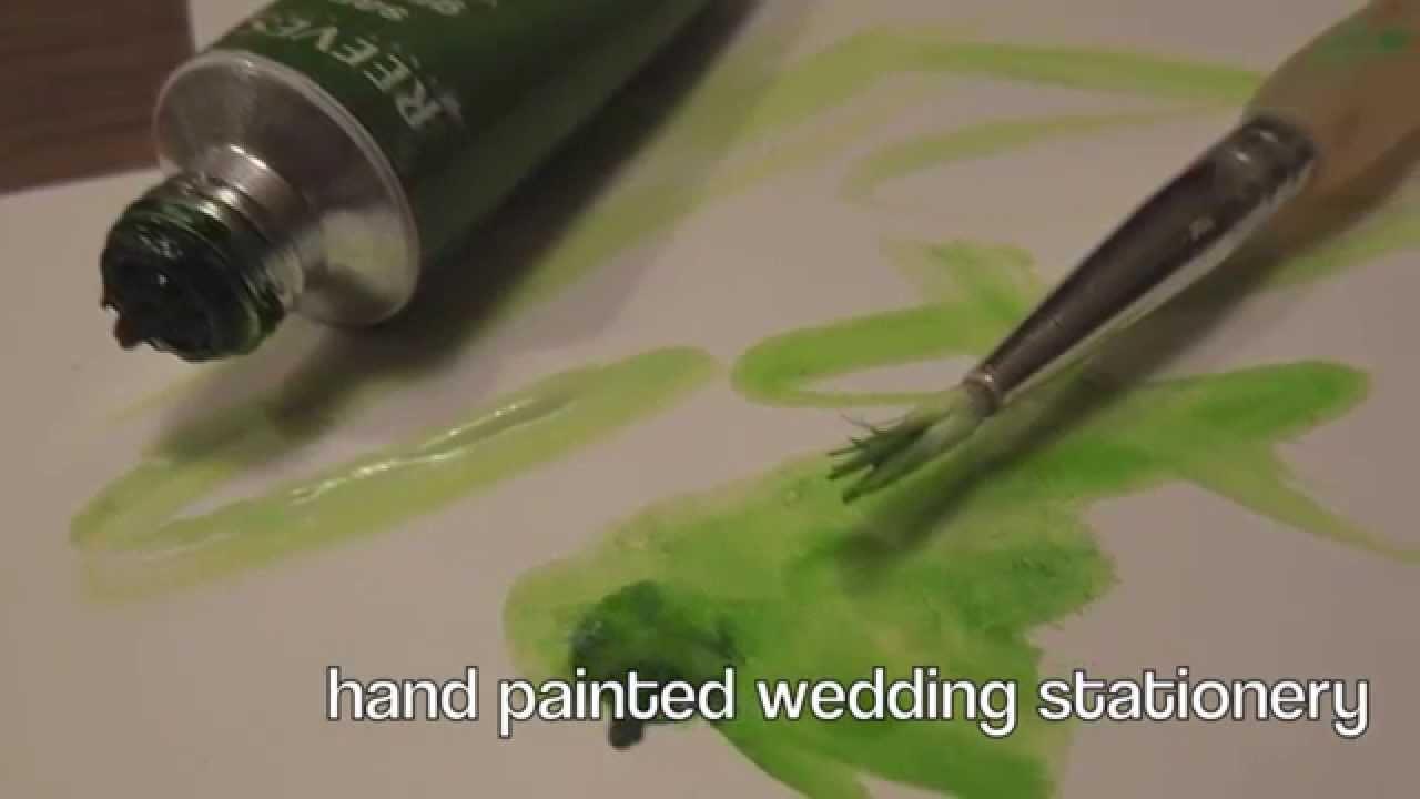 Hand Drawn Hand Painted Green Cream Roses Wedding Invitations DIY (handmade)