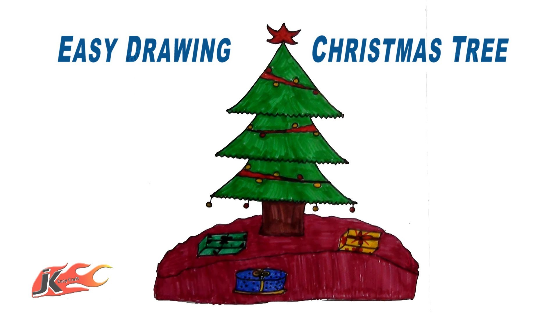 How to Draw a Christmas Tree | Easy School Project for Kids | JK Easy Craft 096