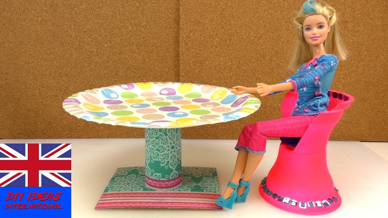 How to Make a Doll Table - Doll Crafts - DIY Barbie table