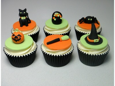 How to Make Halloween Sugarpaste. Fondant  Cupcake Topper Cake Decorating Tutorial