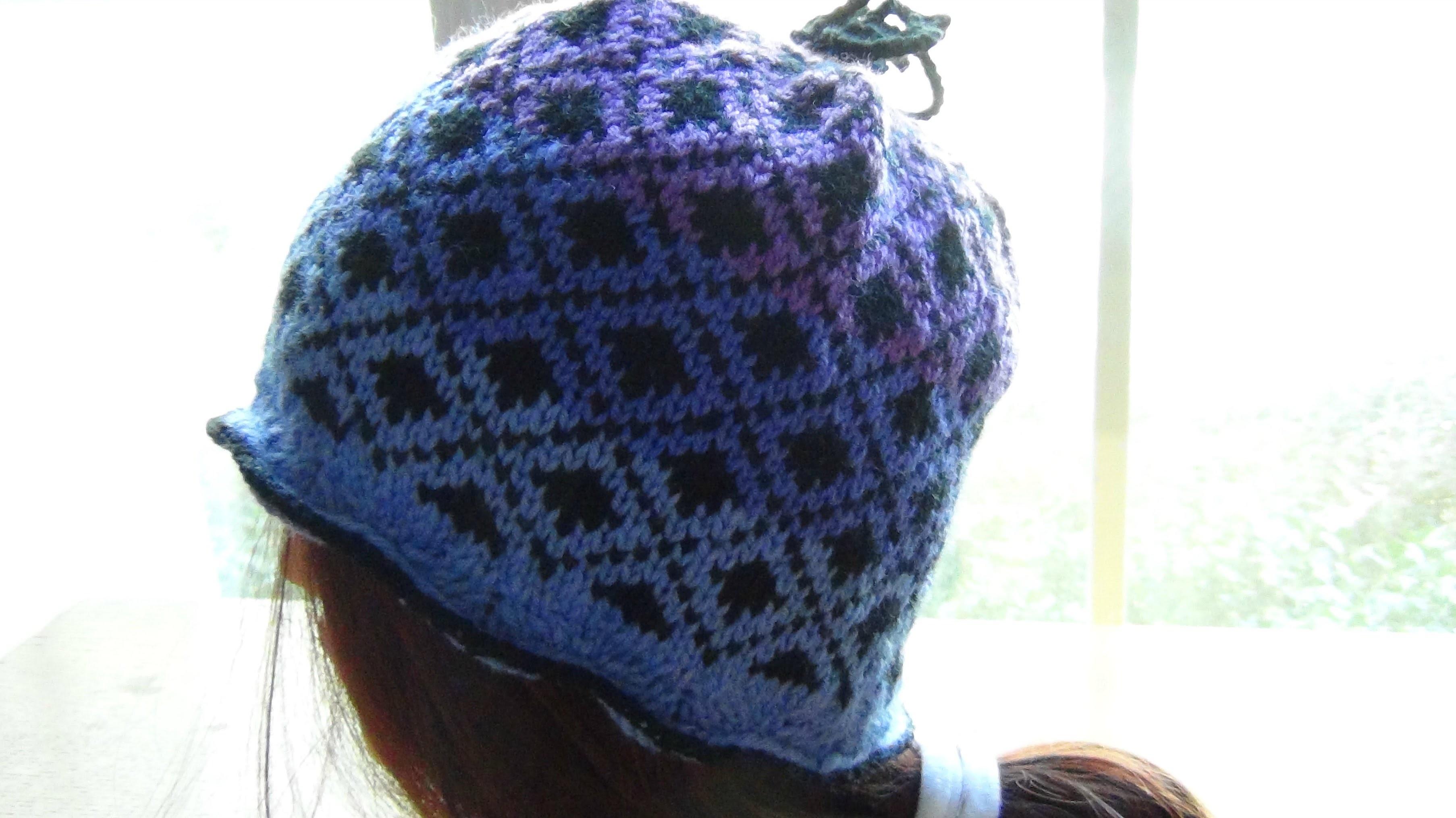 Knitted Blue Fair Isle Beanie Part 1