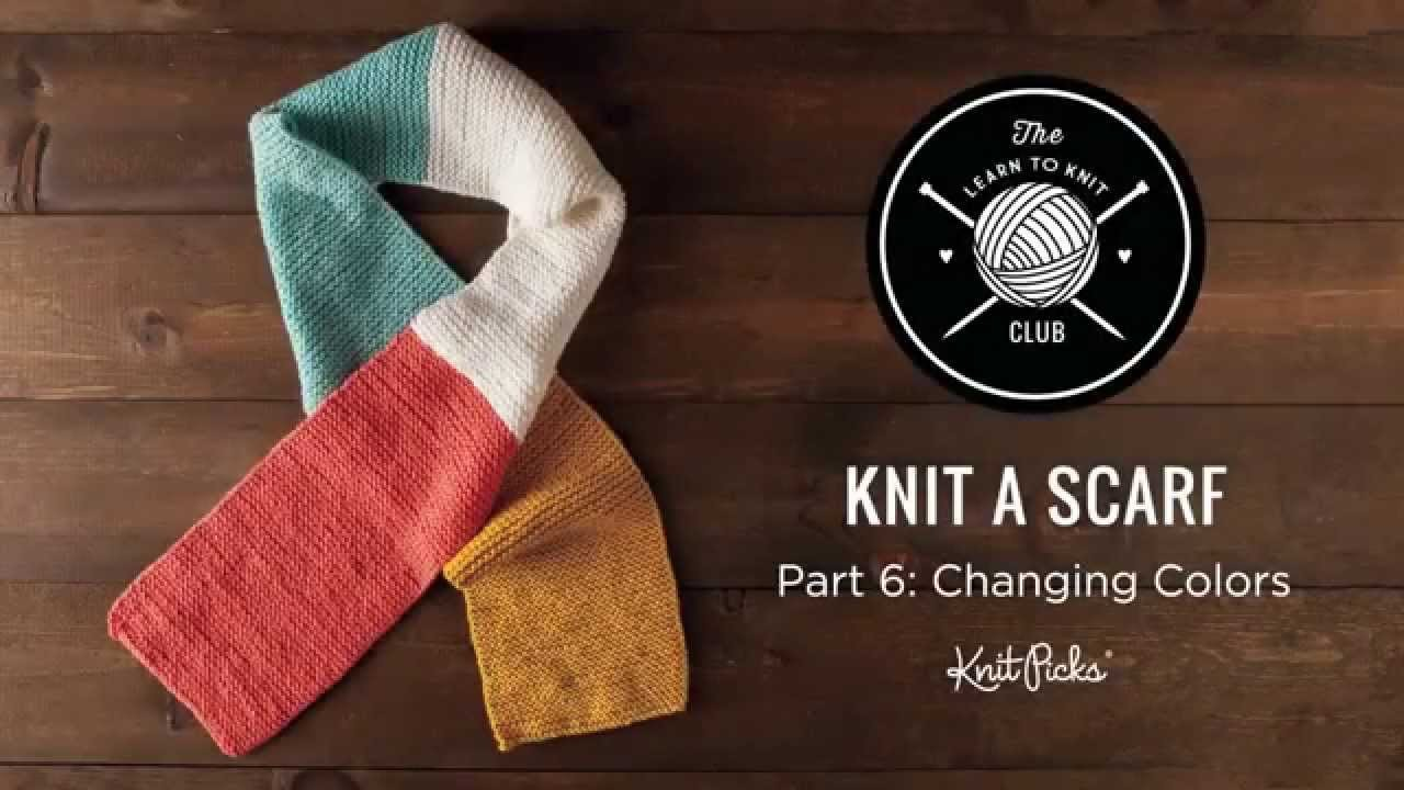 Learn to Knit Club: Learn to Knit a Scarf, Part 6: Changing Yarn Colors