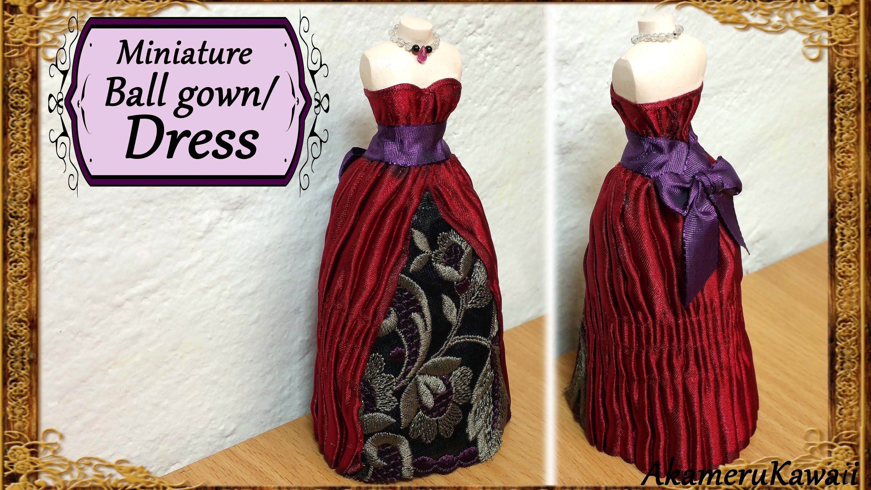 Miniature  Doll Dress.Ball Gown - Fabric Tutorial