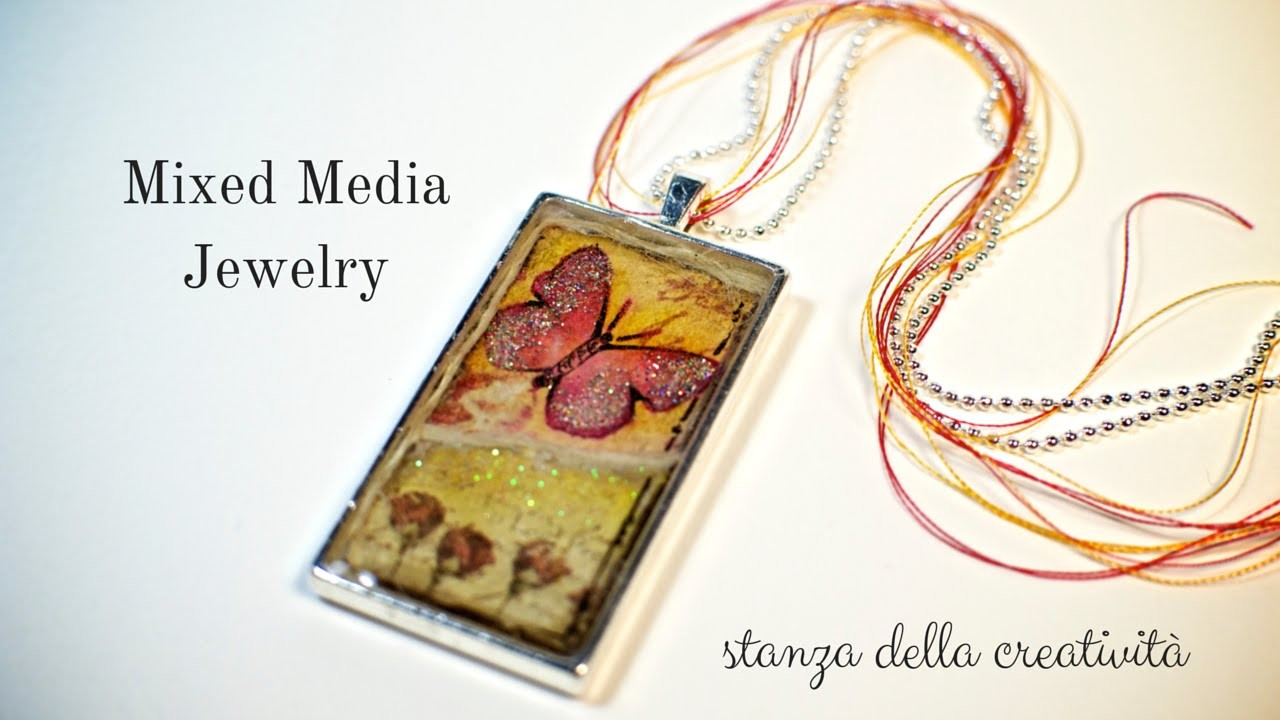 Mixed media jewelry: butterfly