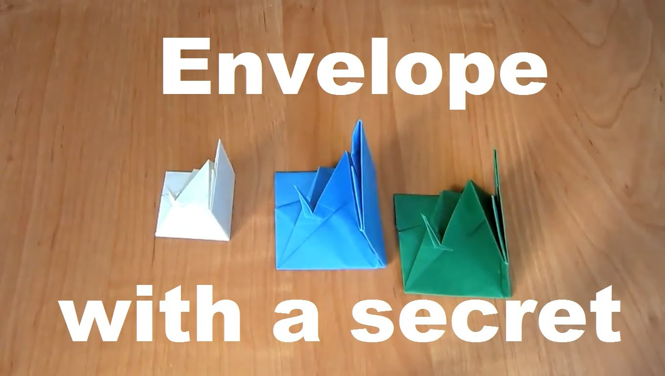 Origami envelope with a secret inside. How to make a paper envelope with a bird secret