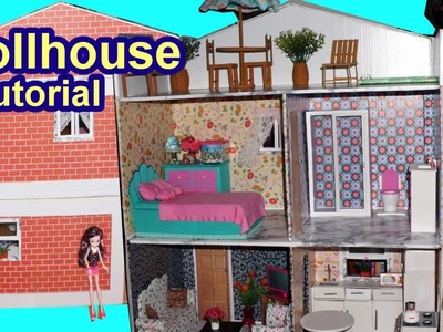 Tutorial: How to make a cardboard dollhouse for Barbie, Monster High, Frozen, EAH, etc